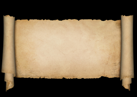 Old antique scroll of parchment with torn edges. Isolated on black background.