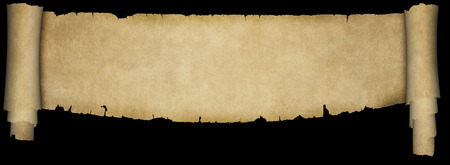 Old parchment scroll with two rolls and torn adges on black background. Natural condition old paper texture.