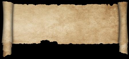 Antique parchment scroll with torn edges on black background. Banco de Imagens