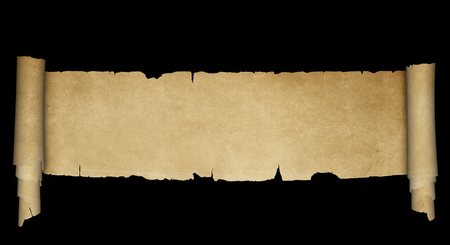 Ancient parchment scroll with torn edges on black background. Banco de Imagens