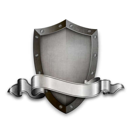 Medieval riveted shield with riveted border and old silver ribbon. Isolated on white background.