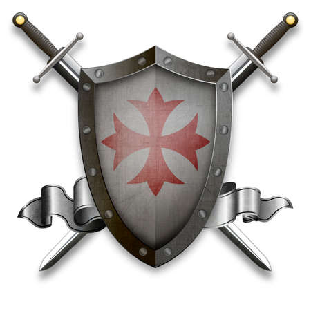 Medieval riveted shield with swords and silver ribbon. Isolated on white background.