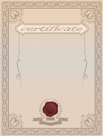 Template for certificate or diploma design with decorative elements and copy space for text. Foto de archivo