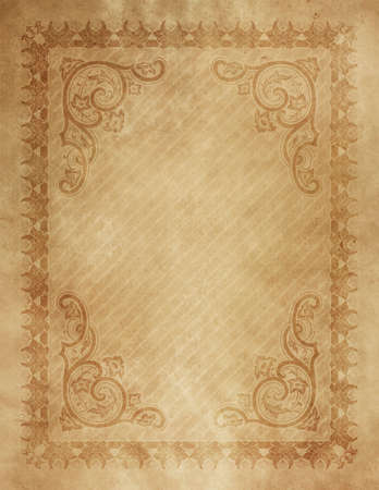 Old grunge paper background with vintage border and decorative patterns.