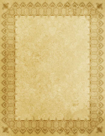 Vintage paper background with decorative ornamental border and patterns.