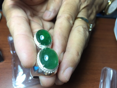 cabochon: Imperial green jadeite cabochon