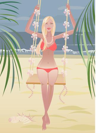 cerulean: girl; relax; sea; swing;  nature Illustration