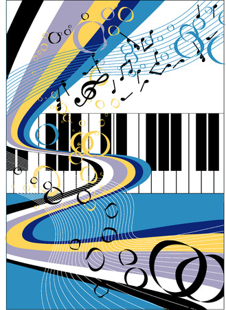 music; abstraction; piano; movement; background Illustration