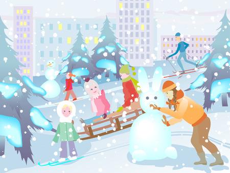 game boy: Enfants joyeuses en hiver sur la rue