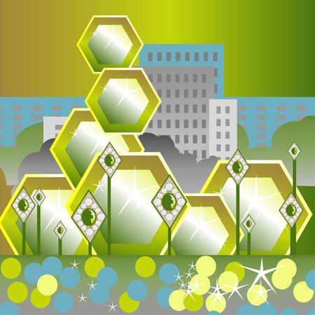 Abstract Emerald City. Riches of the earth. Stylization. Background.