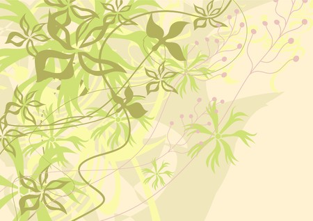 Air background. Delicate palette. Abstraction. Movement of leaves, stems.