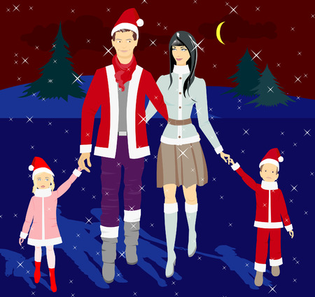 Family in the New Year costumes. Greet the new year together. Vector