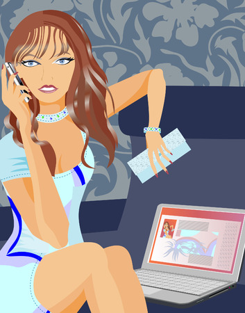Girl talking on the phone and sits at the computer. Illustration