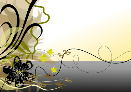 Shore of the lake. Abstraction from the leaves and flowers. Illustration