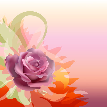 Abstract background with a rose. Floral background. Vector