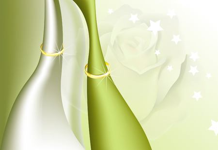 Background with wedding rings. Wedding Card. Vector