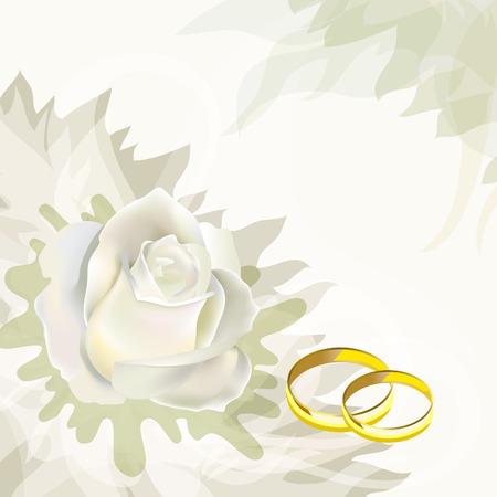 wedding decoration: White rose and wedding rings. Wedding Card.