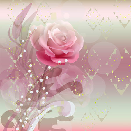 Rose at an abstract background. Floral background. Illustration