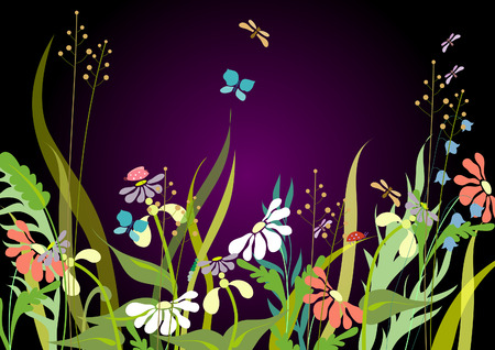 Flowers in the evening. Decorative daisies and bluebells. Stock Vector - 8891919