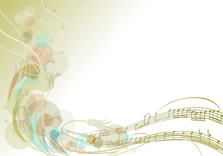 The birth of music. Spring track of notes and branches.