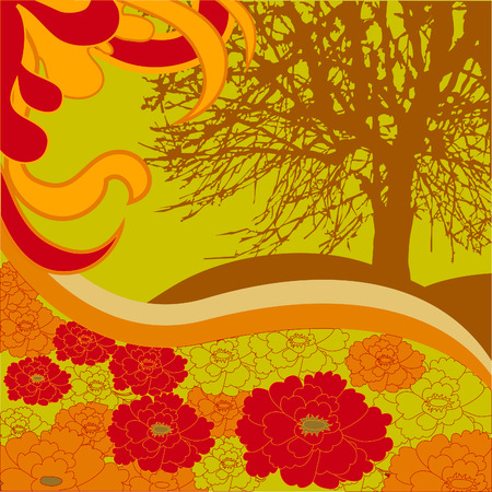 A silhouette of a tree on a hot summer day. Floral hills and meadows. Stock Vector - 8985748