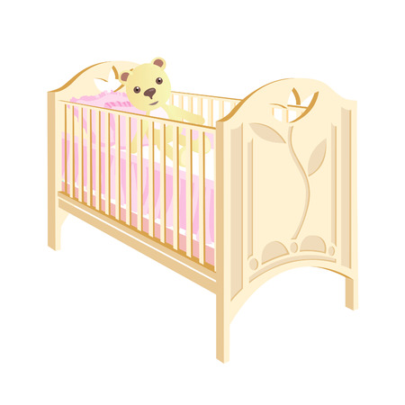 Cot with a pattern on the back. Bed with teddy bear for girls. Vector