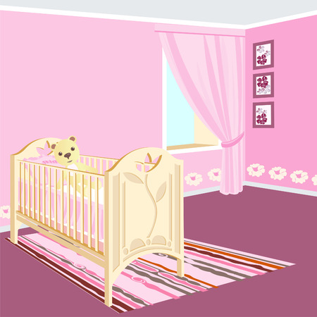 Cot for the baby in the nursery. Room for girls.