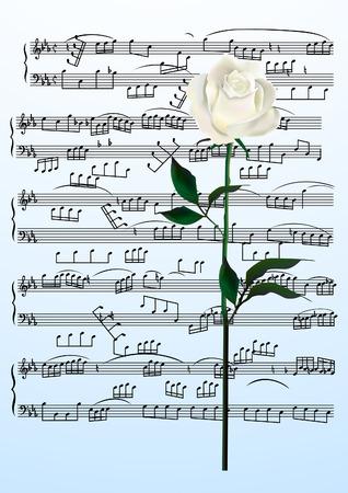 viertelnote: Blatt-Seite. Rose und Musik. Illustration