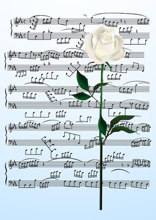 Sheets page. Rose and music. Vector