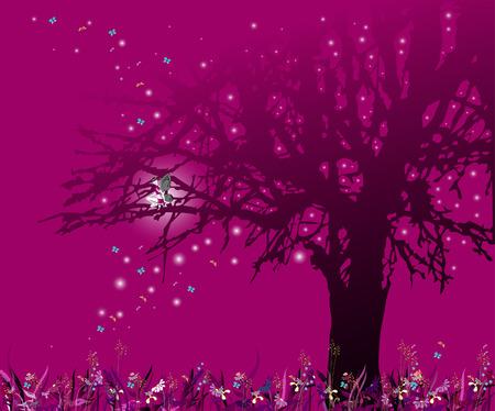 La fée sur un arbre. Le monde magique.