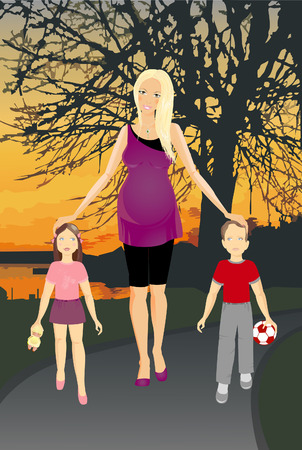 Happy mom with two children. Pregnant girl. Vector