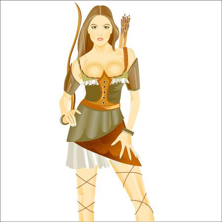 The woman - hunter. Militant girl.