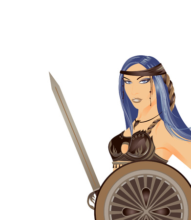 A woman with a sword. The woman warrior. Vector