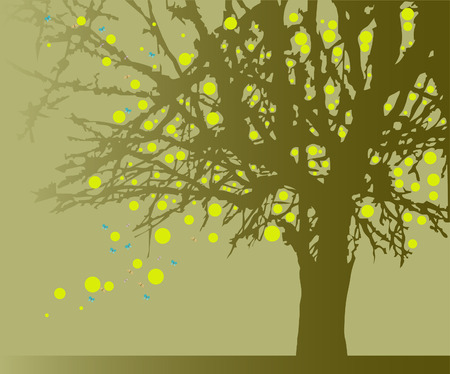 A mighty tree with fruit. Symbol of life and growth. Vector