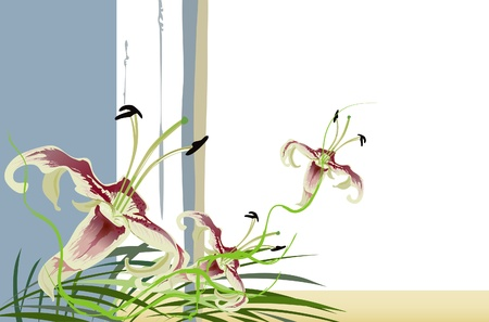 lilium: A bouquet of lily flowers. Abstraction of beautiful flowers. Illustration