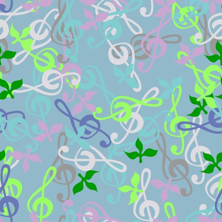 Seamless texture of a musical key. Bright background of the children's music and leaves. Illustration