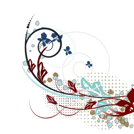 Abstraction of ornamental flowers and leaves. Modern creative background. Stock Vector - 9133194