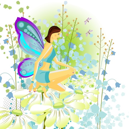 Butterfly in a beautiful garden. Girl butterfly on daisies. Stock Vector - 9175881