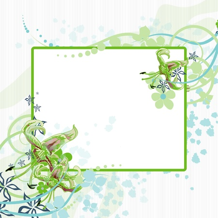 Photo frame adorned with flowers. Background with abstract pattern for the text. Illustration