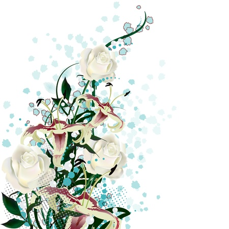 Bridal bouquet. A bouquet of white roses and lilies. Illustration