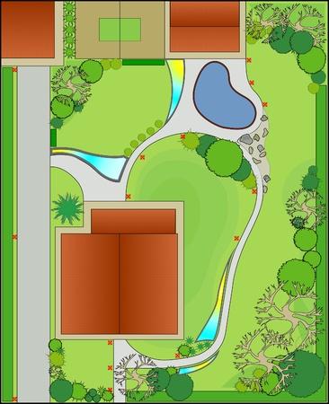 Project en landschapsarchitectuur. Ontwerp van het landschap
