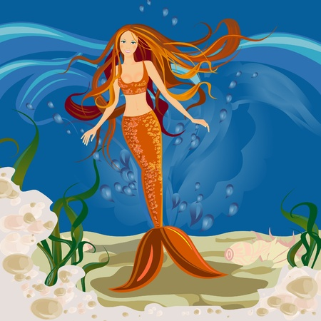 Mermaid underwater. Fairy-tale world. Sea siren. Stock Vector - 9234025