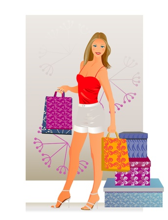 saxy: Happy woman with shopping. A young woman buys.