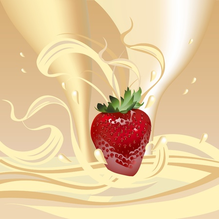 Juicy strawberries in cream. A healthy breakfast with milk. Illustration