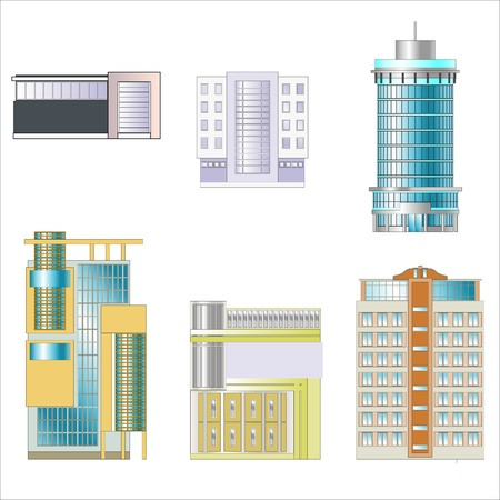 tall building: Office and industrial buildings separately. Drawings of buildings.