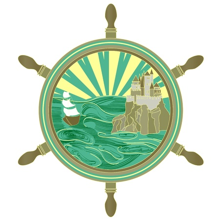 nautical vessel: The ship sails to the castle. Seascape in a frame in the form of the wheel.