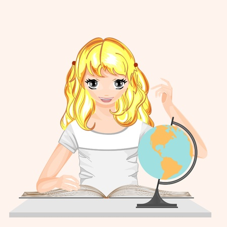 world class: Girl with a book and a globe. Schoolgirl gets knowledge.