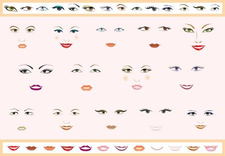 eyebrow makeup: Insieme vettoriale di labbra e gli occhi. Volti di donne. Vettoriali