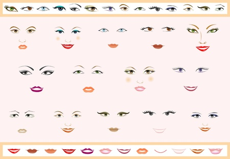 eyelashes: Vector set of lips and eyes. Womens faces. Illustration
