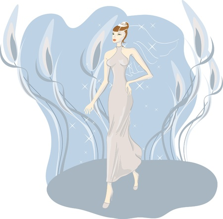 Bride in a hurry for the wedding. A girl in a bridal dress. Vector